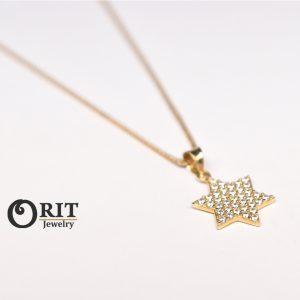 תליון זהב מגן דוד קטן משובץ 2