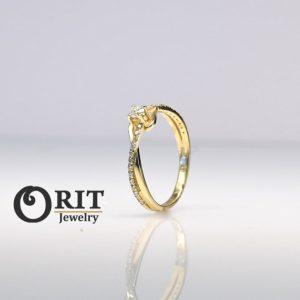 טבעת יהלום M2691 לבן/צהוב