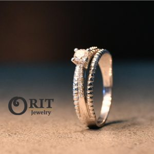 טבעת יהלומים זהב לבן/ צהוב
