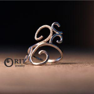 טבעת יהלומים פיתוחים גדול זהב לבן