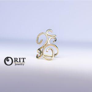 טבעת יהלומים פיתוחים גדול