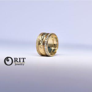טבעת זהב צהוב ויהלומים ב2 חלקים