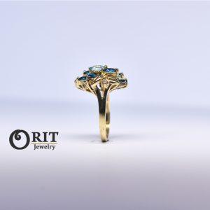 טבעת זהב + יהלומים ואבני חן כחולות עבודת