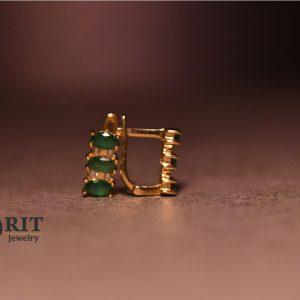 עגיל זהב משובצת אבן ירוקה סט