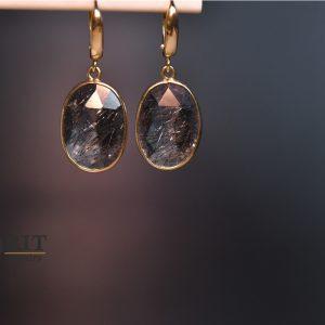 עגילי זהב בעבודת יד- רוטיל שחור