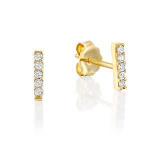 """עגילי יהלומים """"שורה"""" Ed8262"""