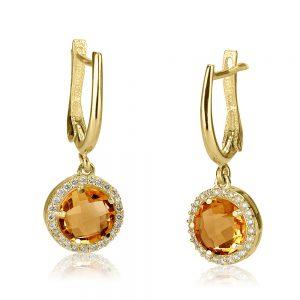 עגילי יהלומים בשילוב אבני חן Ed5571